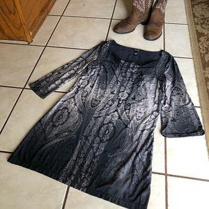 Alfani Career M Long Sleeve Gray/Black Dress